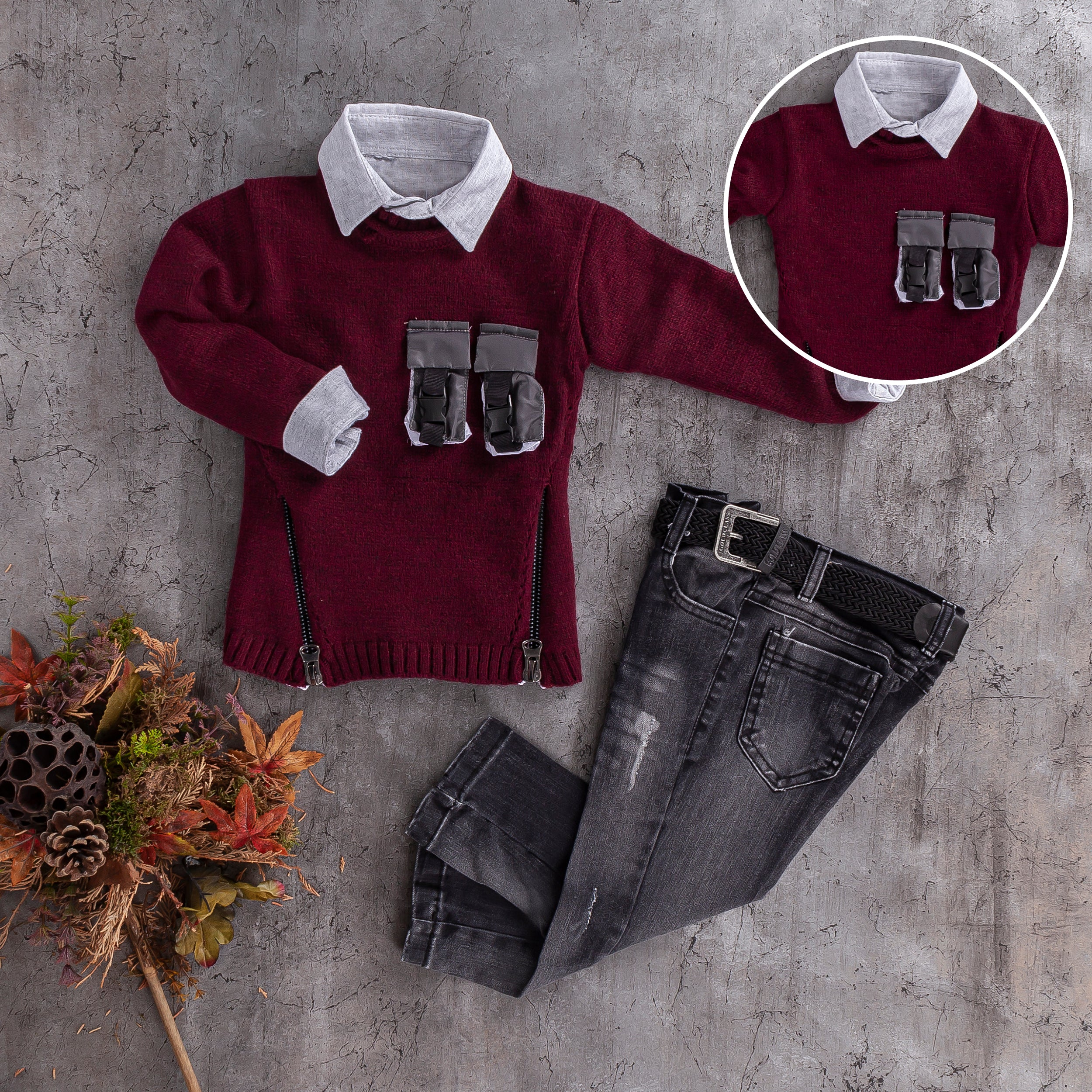 boys stylish knit sweater shirt and jeans sets