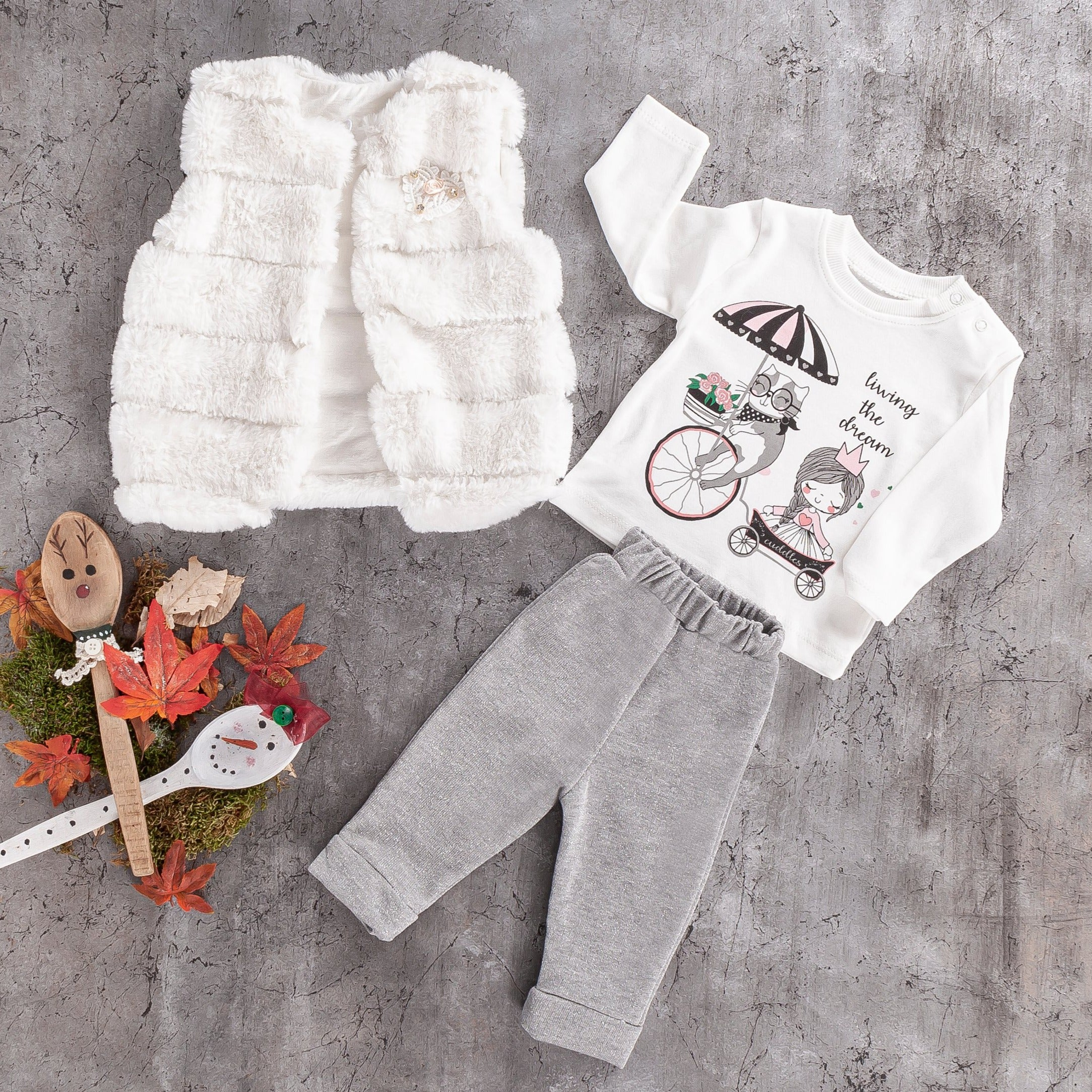 baby 3 PC fur vest cotton jogger set