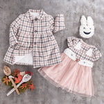 Girls kids checkered wool jacket dress set