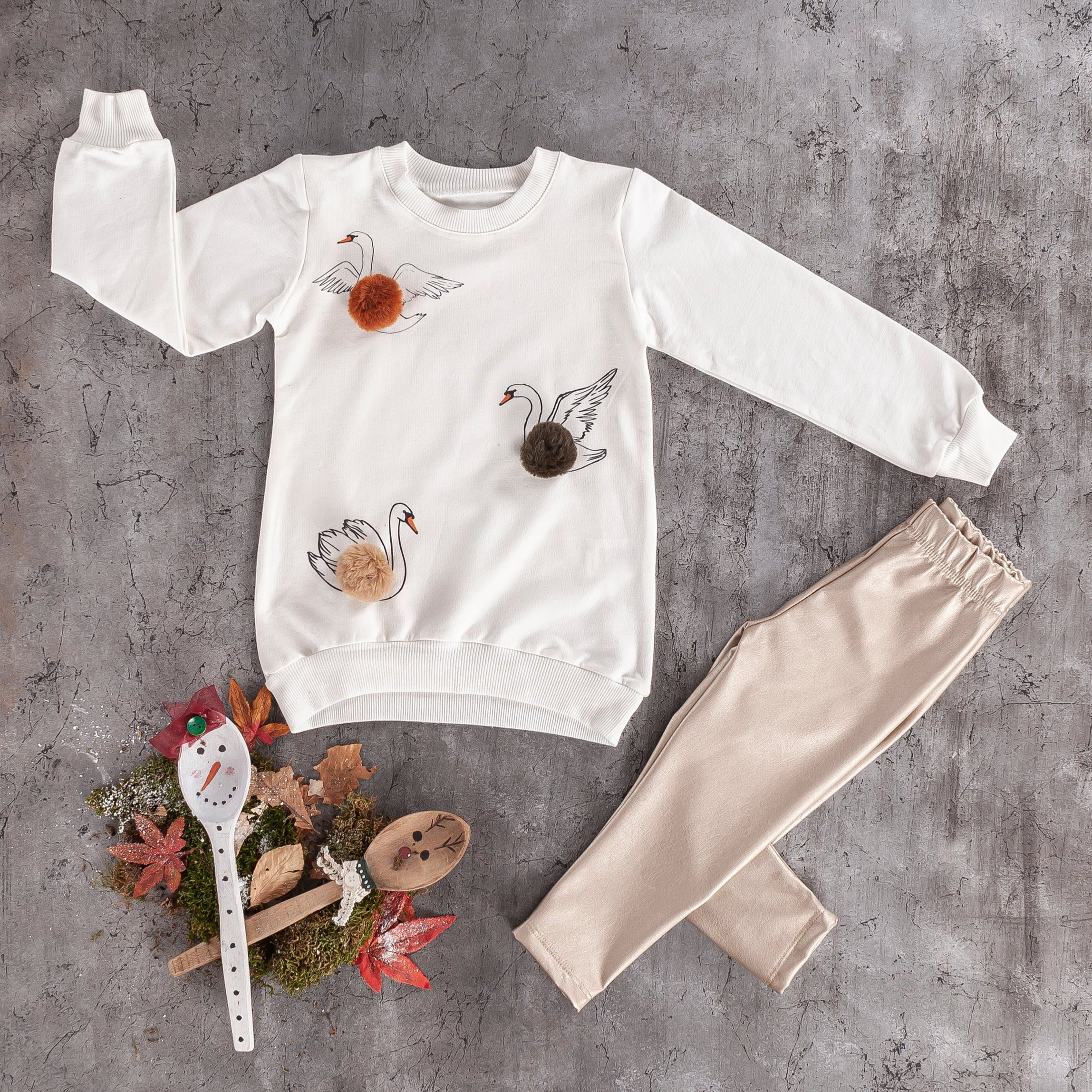 girls kids fancy swan sweater leather leggings set