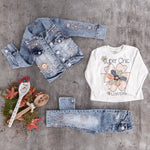 girls baby 3PC  knit cardigan jeans set