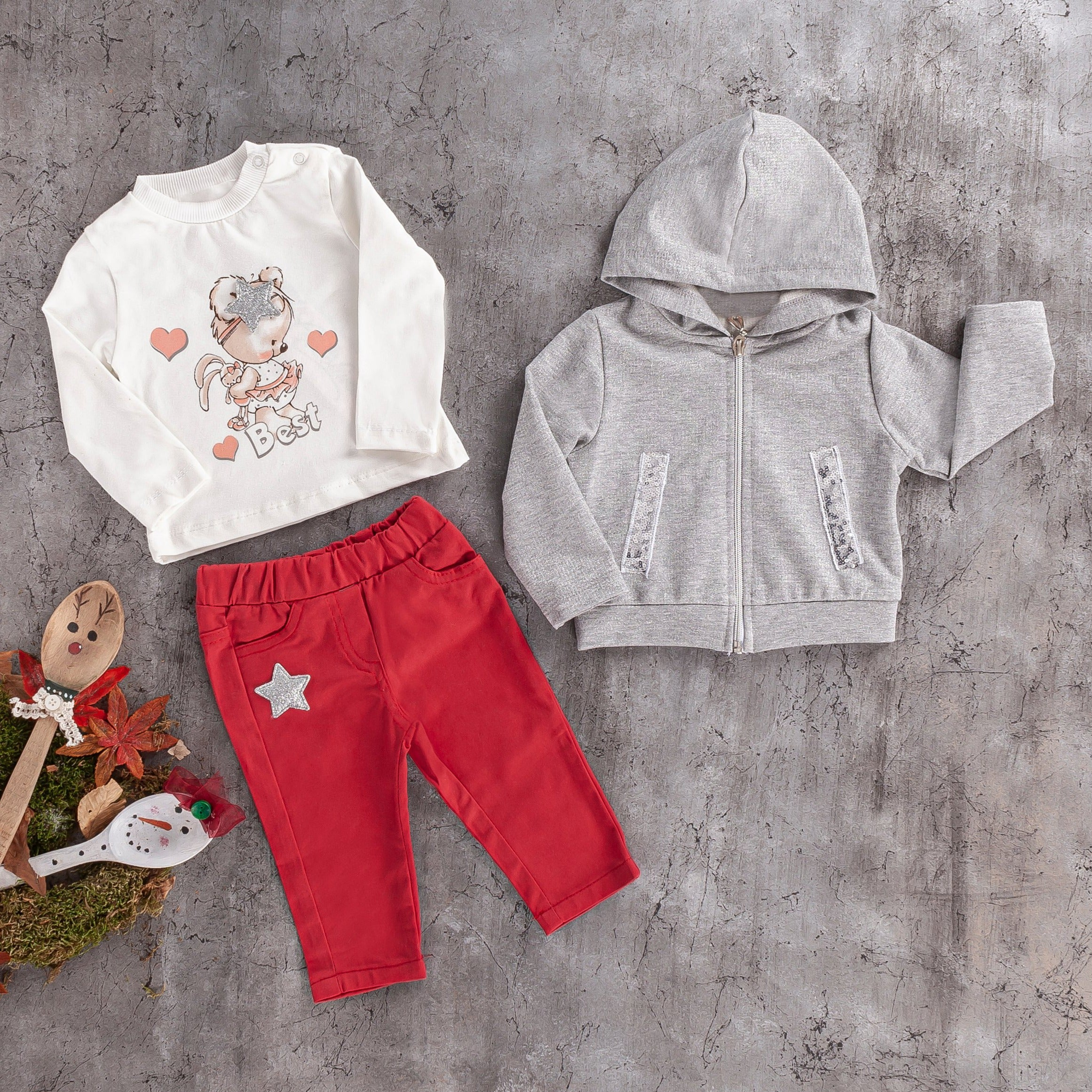 girls baby 3PC  hoodie jogger set