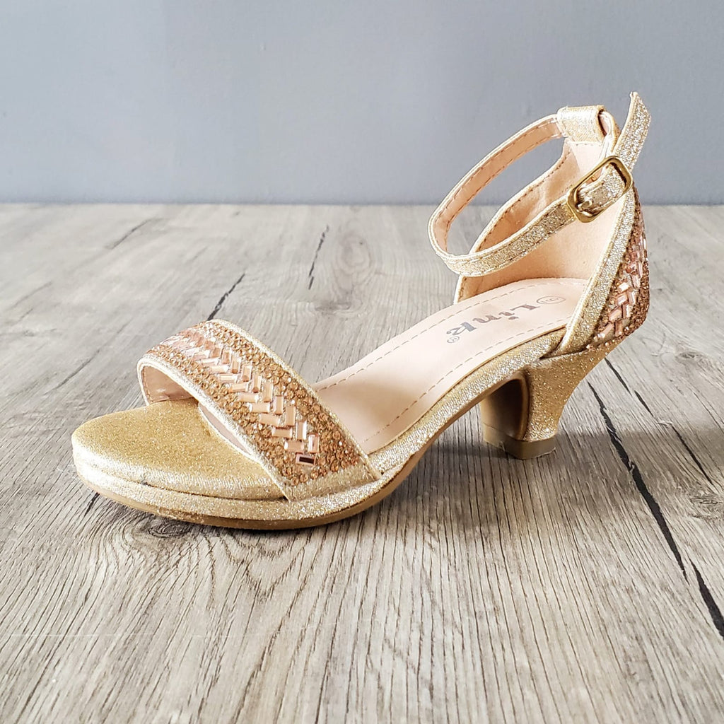 girl gold formal sandals