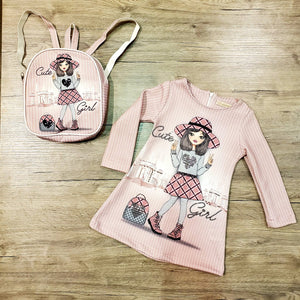 girls kids cotton casual dress with backpack