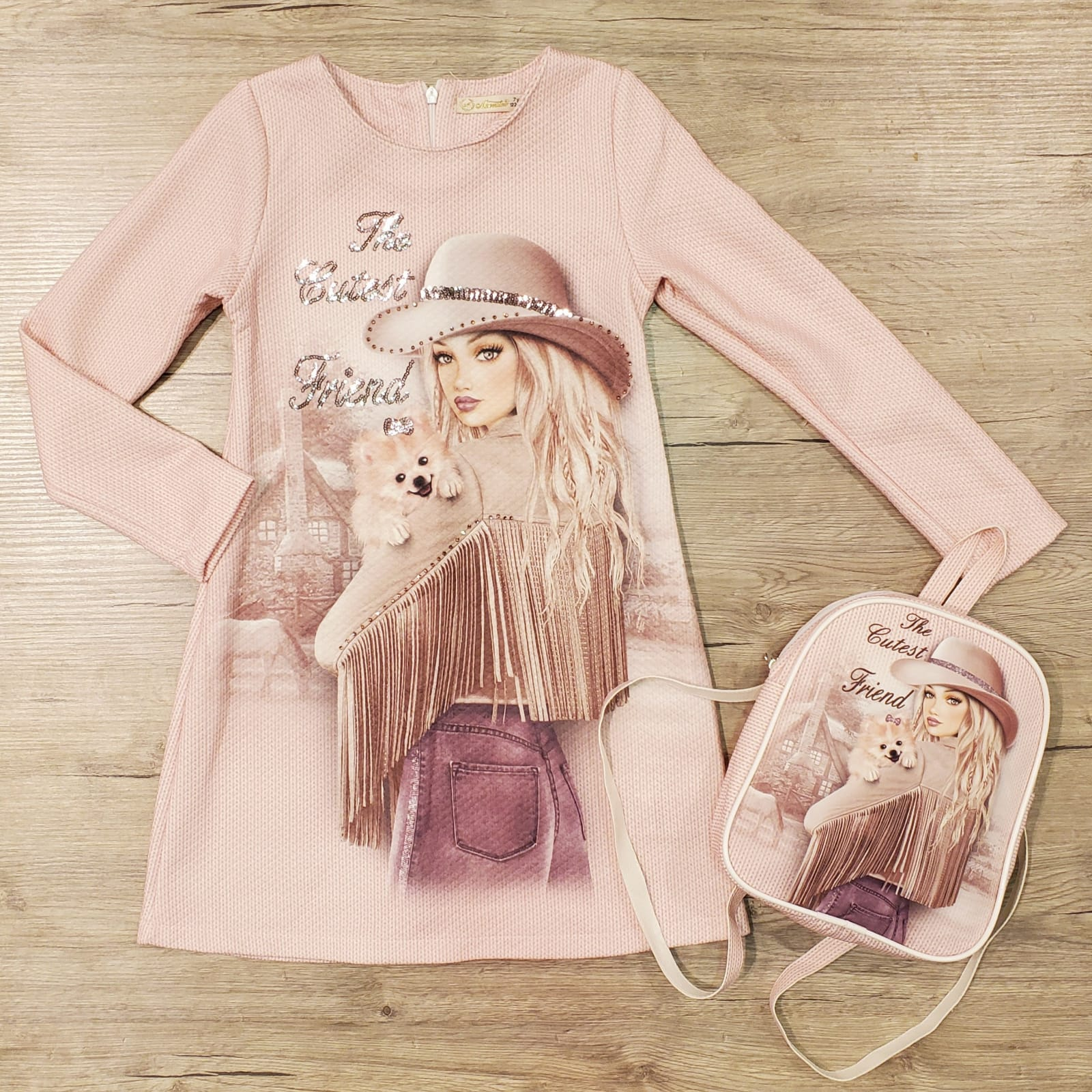 girl kids dress with backpack