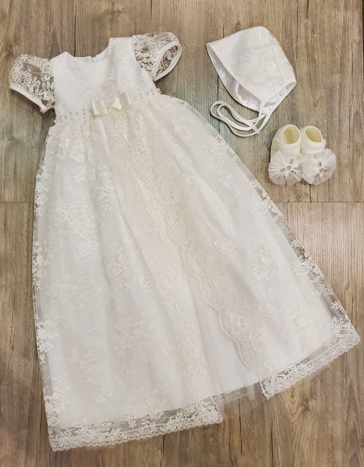 Jewels Long Baptism Dress