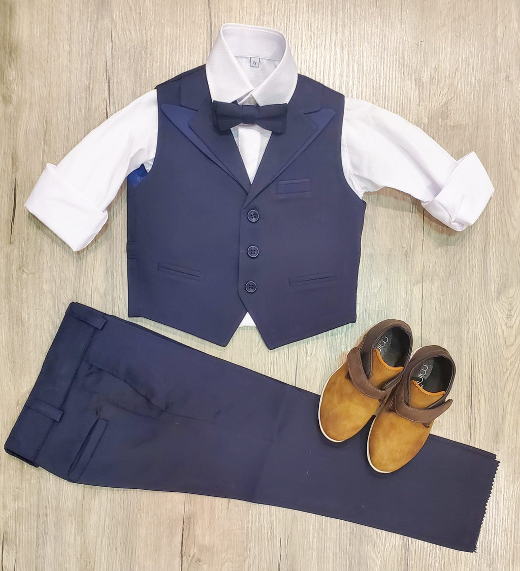 Shiny Lapel Vest Set