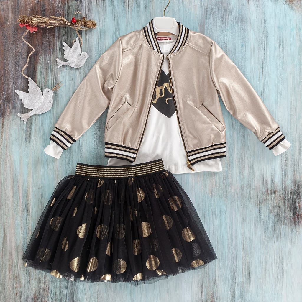 3 PC  girls tulle skirt and cool jacket set