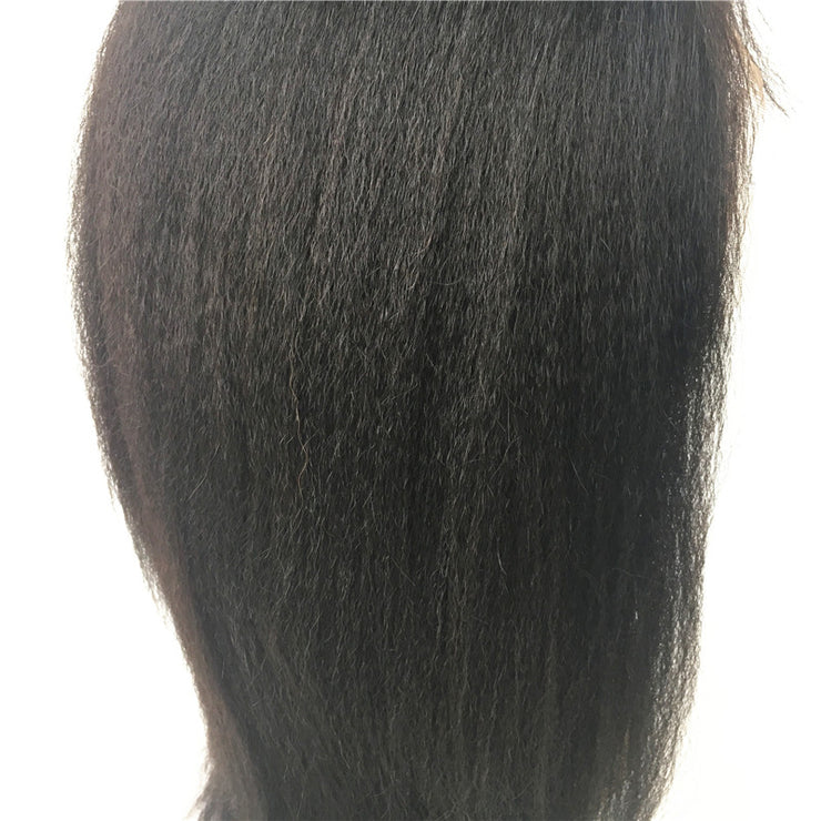 Italian Yaki Brazilian Human Hair Glueless Full Lace Wig 130% Density | JYL HAIR