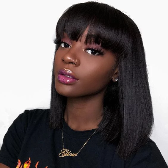 Yaki Brazilian Human Hair Bob Wigs With Bang Machine Made | JYL HAIR