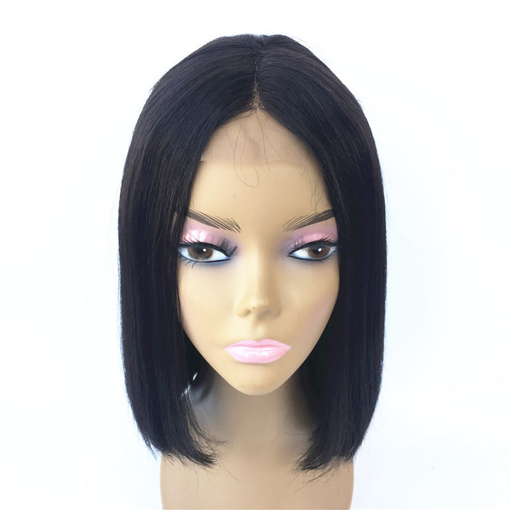 Middle Part Straight Brazilian Human Hair Center Part Bob Wig | JYL HAIR