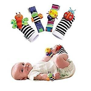 Blige SMTF Cute Animal Soft Baby Socks Toys Wrist Rattles and Foot Finders for Fun Butterflies and Lady bugs Set 4 pcs - gift-siri