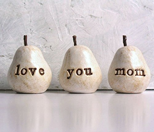 Gift for Mom, Love You Mom Pears, Gift for Christmas or Birthday, Perfect Present for your Mother, set of 3 - gift-siri