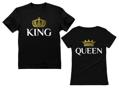 King & Queen Matching Couple Set Valentine's Day Gift His & Hers T-Shirt Men X-Large / Women Small - gift-siri