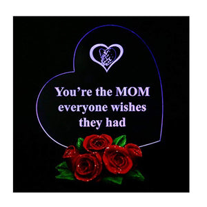 Heart Shaped LED Light on Rose Base Mother Gifts You're The MOM Everyone Wishes They had - gift-siri