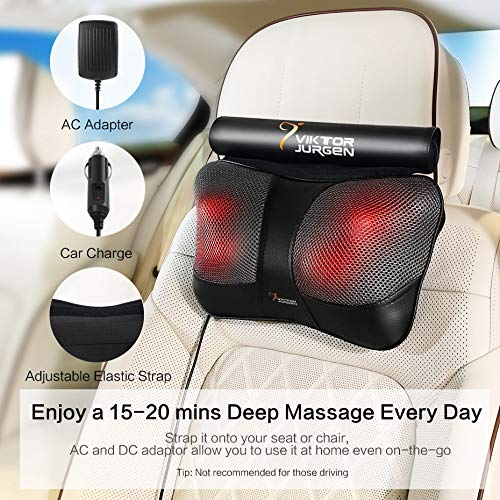 VIKTOR JURGEN Neck Massage Pillow Shiatsu Deep Kneading Shoulder Back and Foot Massager with Heat-Relaxation Gifts for Women/Men/Dad/Mom-FDA Approved - gift-siri