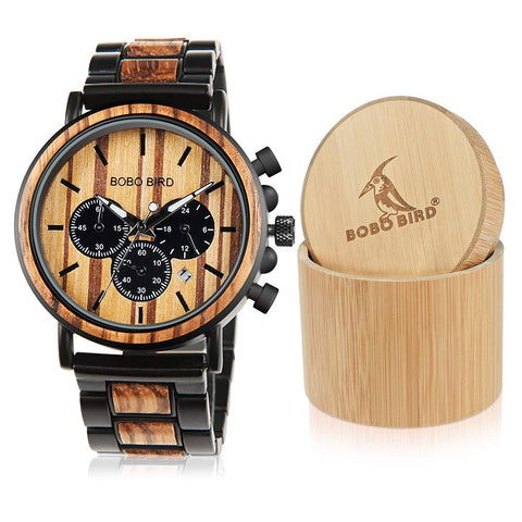 BOBO BIRD Wooden Mens Watches Large Size Stylish Wood & Stainless Steel Combined Chronograph Military Quartz Watch (Balck Wood Band) - gift-siri