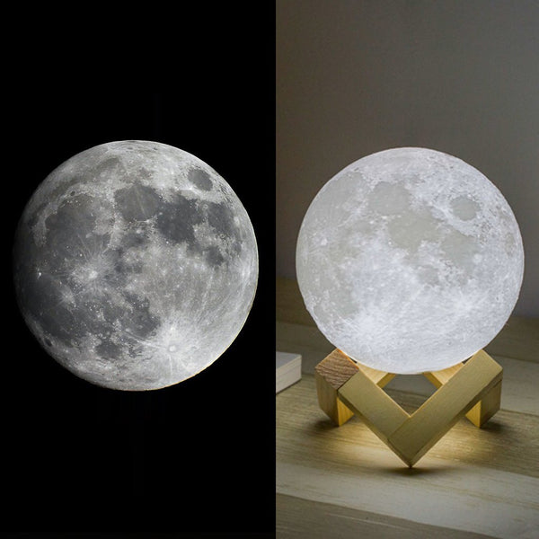 Mydethun Moon Lamp Moon Light Night Light for Kids Gift for Women USB Charging and Touch Control Brightness 3D Printed Warm and Cool White Lunar Lamp(5.9 in Moon lamp with Stand) - gift-siri