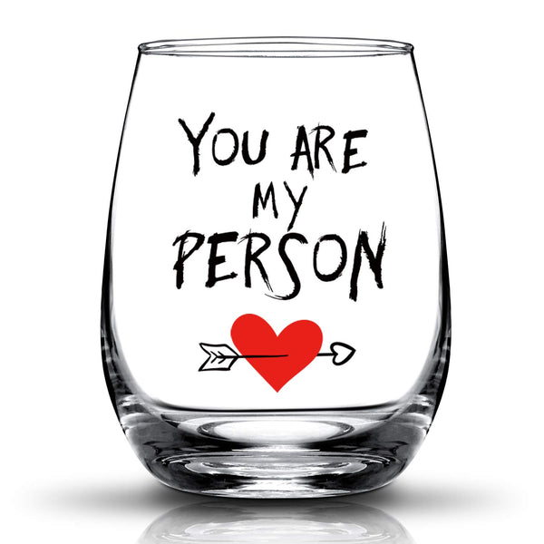 JERIO You're My Person Gift For Best Friend BFF Gifts Birthday Gifts for Girlfriend, Woman Her,Wife 15oz Stemless Wine Glass - gift-siri