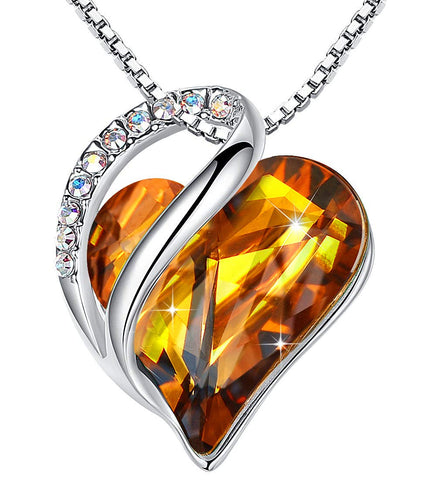 "Leafael""Infinity Love"" Heart Pendant Necklace Made with Swarovski Crystals Amber Brown November Birthstone Jewelry Gifts for Women, Silver-tone, 18""+2"", Presented by Miss New York - gift-siri"