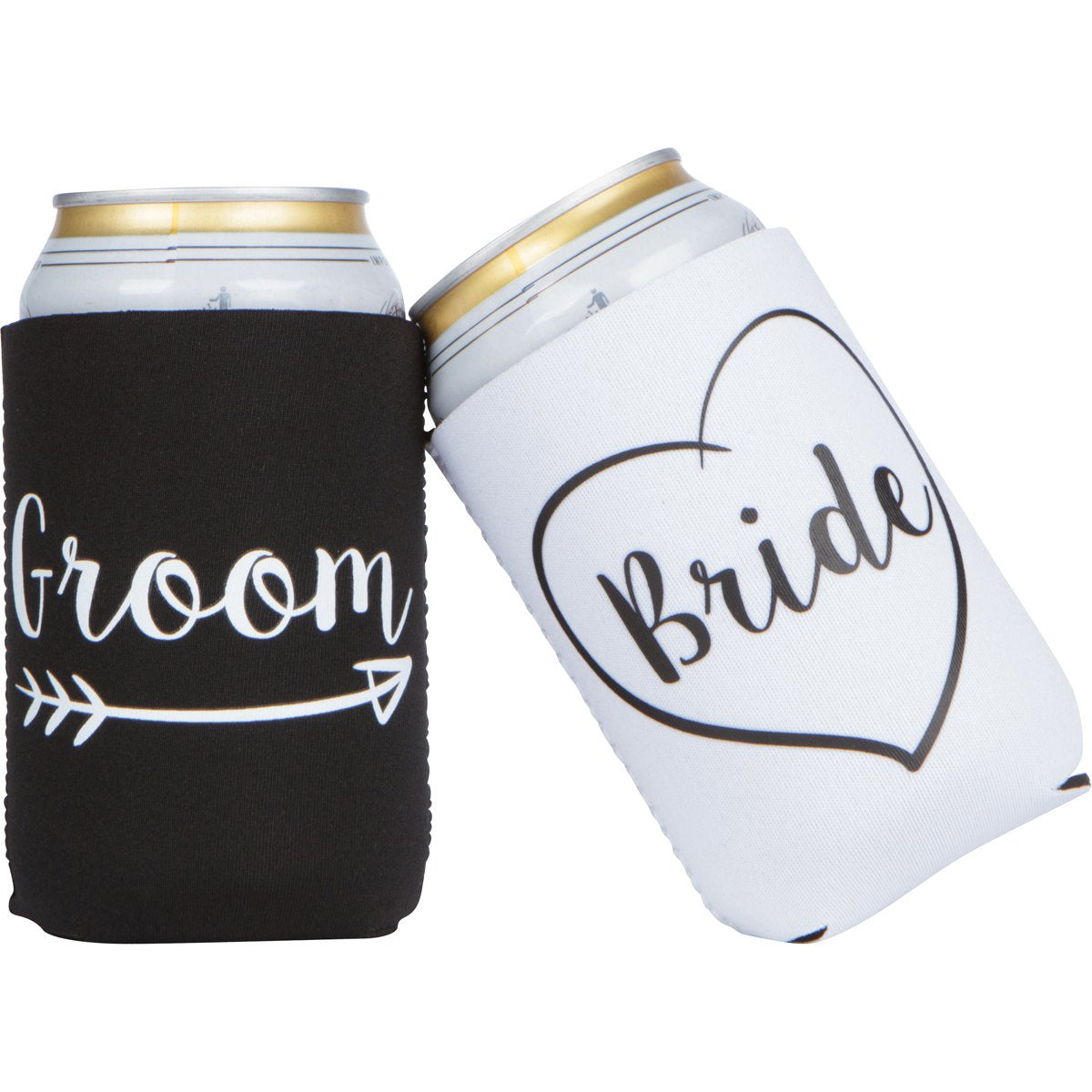 Cute Wedding Gifts - Bride and Groom Novelty Can Cooler Combo - Engagement Gift for Couples - gift-siri