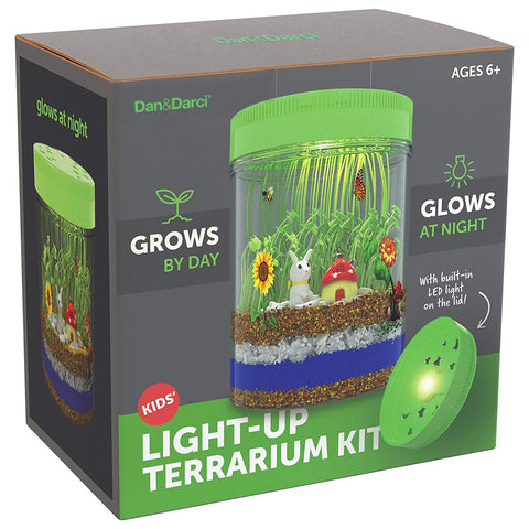 Light-up Terrarium Kit for Kids with LED Light on Lid - Create Your Own Customized Mini Garden in a Jar That Glows at Night - Great Science Kits - Gardening Gifts for Children - Kids Toys - Dan&Darci - gift-siri