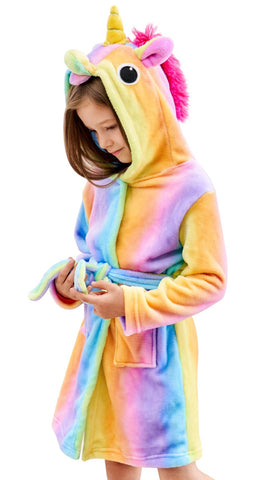 Soft Unicorn Hooded Bathrobe Sleepwear - Unicorn Gifts for Girls (7-9 Years, Rainbow) - gift-siri