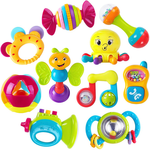 iPlay, iLearn 10pcs Baby Rattles Teether, Shaker, Grab and Spin Rattle, Musical Toy Set, Early Educational Toys for 3, 6, 9, 12 Month Baby Infant, Newborn - gift-siri