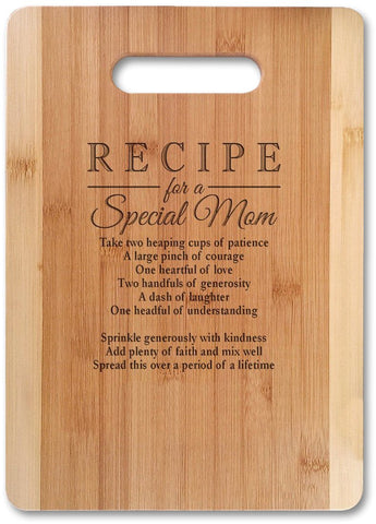 "Mothers Gift Recipe for a Special Mom ( MED 13""x9.5"", Not Customized ) Bamboo Serving Cutting Board for Mothers Day Birthday or Christmas - gift-siri"