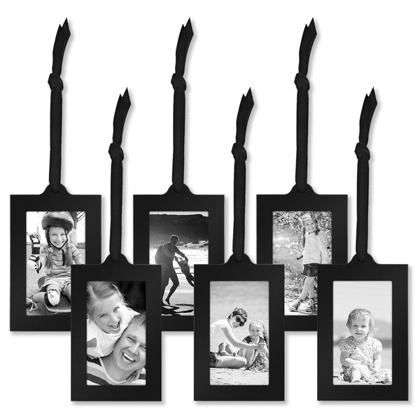 "Americanflat Bronze Family Tree Frame with 6 Hanging Picture Frames Each Sized 2""x3"" with Adjustable Ribbon Tassels - gift-siri"