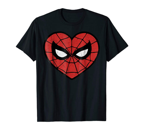 Marvel Spider-Man Face Mask Valentine's Heart Logo T-Shirt - gift-siri