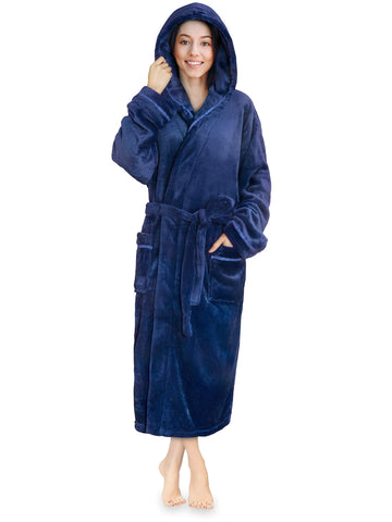 Women Fleece Robe with Hood,Satin Trim|Luxurious Soft Plush Bathrobe,Blue,S/M - gift-siri