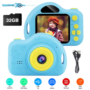 Kids Camera, Digital Video Camera Children Creative DIY Camcorder with Rechargeable Battery Birthday / Christmas / New Year Toy Gifts for 4 5 6 7 8 9 10 Year Old Girls with 32GB SD Card (Blue) - gift-siri