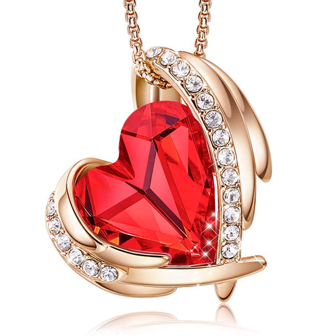 CDE Necklace for Women Red Angel 18K Rose Gold Plated Pendant Necklace Embellished with Crystals from Swarovski Necklace Heart Jewelry Fashion for Women, Gift for Christmas - gift-siri