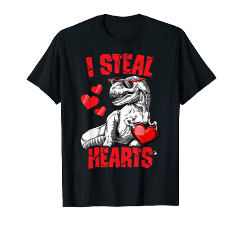 Boys Valentines Day Kids Dinosaur T rex Lover I Steal Hearts T-Shirt - gift-siri