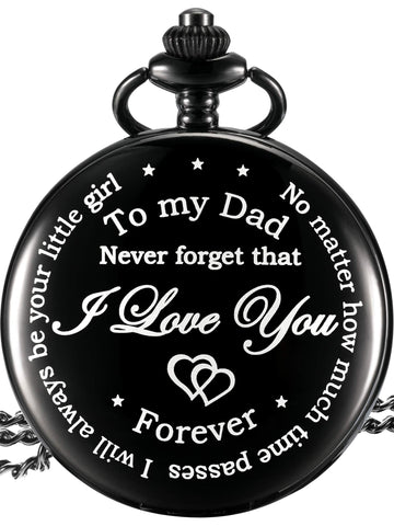 Dad Gift from Daughter to Father Engraved Pocket Watch - No Matter How Much Time Passes, I Will Always Be Your Little Girl (Black) - gift-siri