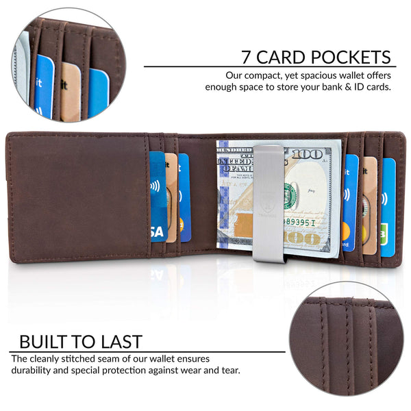"TRAVANDO Money Clip Wallet""RIO"" Mens Wallet Front Pocket Wallet Slim Wallet RFID Blocking - Credit Card Holder - Minimalist Mini Bifold Gifts for Men - gift-siri"