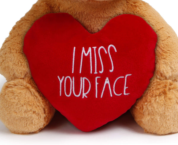 I Miss You Gifts Large 12 inch Teddy Bear I Miss Your Face- Cute Long Distance Relationships Gift, Friend, Couples, Relationship, Girlfriend, for Her, Him - gift-siri