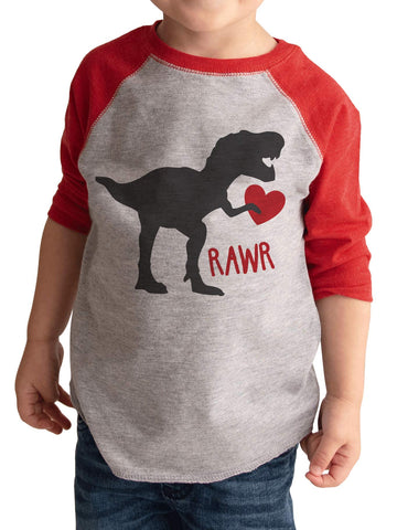 7 ate 9 Apparel Kids Dinosaur Happy Valentine's Day 3T Red Raglan - gift-siri