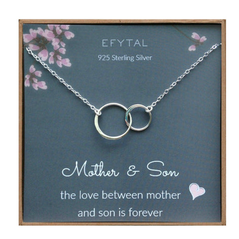 EFYTAL Mother Son Necklace, Sterling Silver Two Interlocking Infinity Circles,Mothers Day Jewelry Birthday Gift - gift-siri