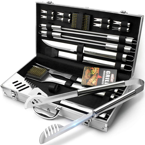 GRILLART BBQ Grill Utensil Tools Set Reinforced BBQ Tongs 19-Piece Stainless-Steel Barbecue Grilling Accessories with Aluminum Storage Case -Complete Outdoor Grill Kit for Dad, Birthday Gift for Man - gift-siri
