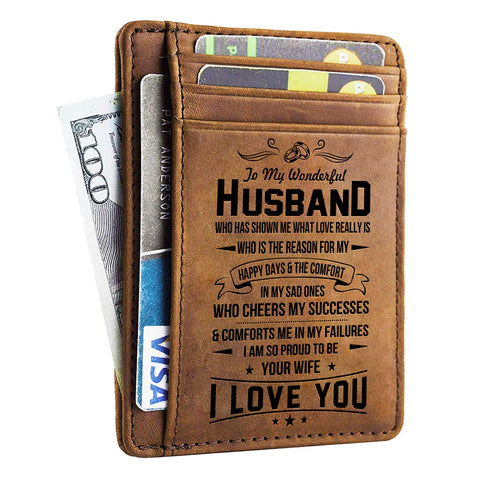 Husband Walet - Engraved Leather Front Pocket Wallet (M - My husband, I will always love you) - gift-siri