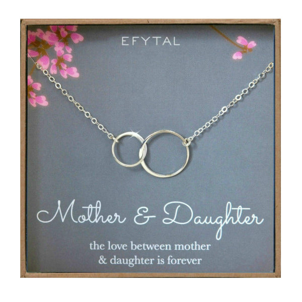 EFYTAL Mother Daughter Necklace - Sterling Silver Two Interlocking Infinity Double Circles, Mothers Day Jewelry Birthday Gift - gift-siri