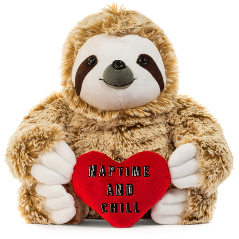 Light Autumn Valentines Day Stuffed Animals - Girlfriend Gifts - Naptime and Chill Valentine Sloth Bear for Her - Cute Funny Vday Gifts for Boyfriend - gift-siri