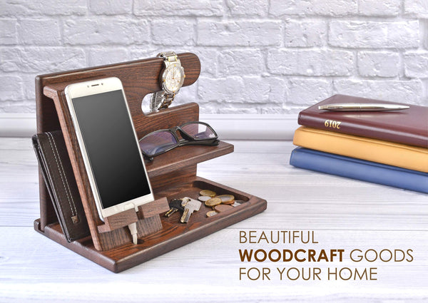 Wood Phone Docking Station Ash Key Holder Wallet Stand Watch Organizer Men Gift Husband Wife Anniversary Dad Birthday Nightstand Purse Father Graduation Male Travel Idea Gadgets Solid - gift-siri