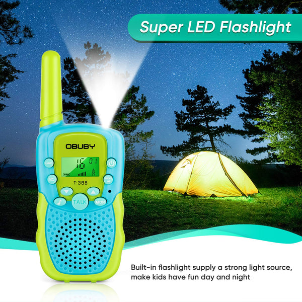 Obuby Walkie Talkies for Kids, 22 Channels 2 Way Radio Kid Gift Toy 3 KMs Long Range with Backlit LCD Flashlight Best Gifts Toys for Boys and Girls to Outside Adventure , Camping (Blue&Pink&Yellow) - gift-siri