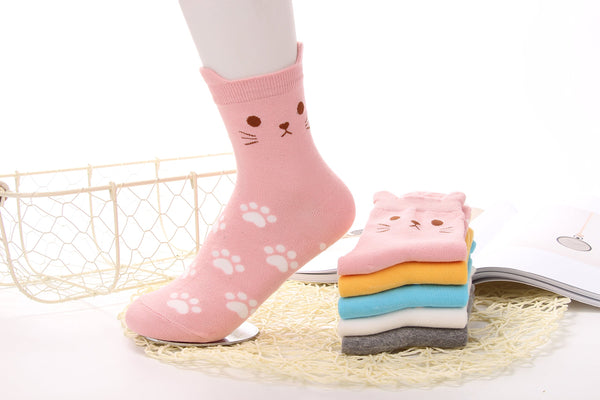 5 Pairs Women's Fun Socks Cute Cat Animals Funny Funky Novelty Cotton Gift (Cute Cat) Size: Free size 22.5-25.5cm Suitable for women US Size 5-8 - gift-siri