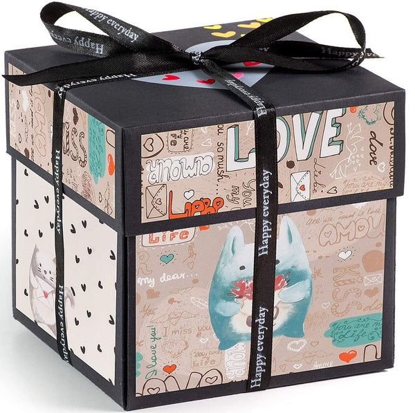 XOXO Explosion Box with Designer Illustrations - Pre-Assembled - 5 Inch Cube (Bears) - gift-siri