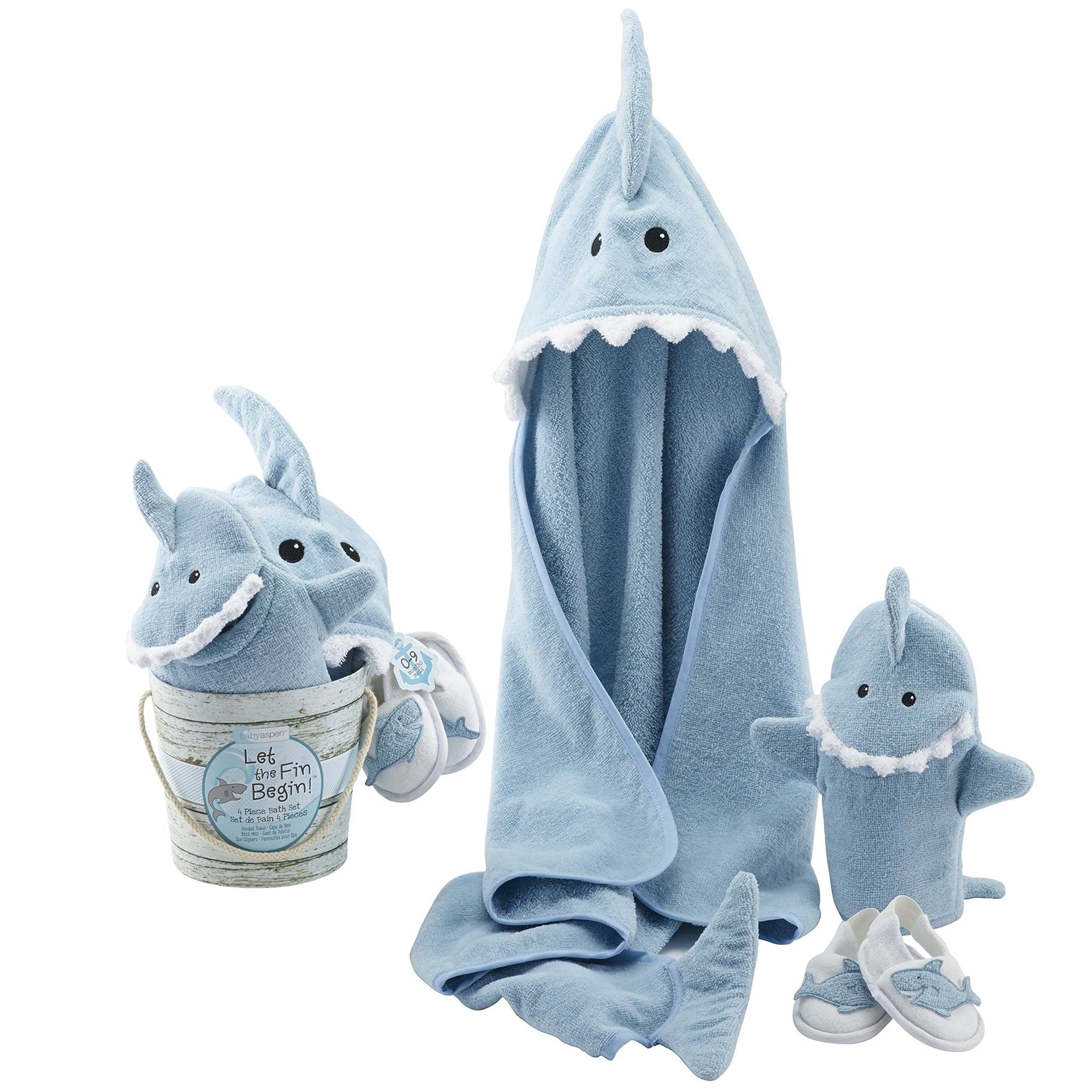 Baby Aspen Four-Piece Gift Set, Let The Fin Begin, Blue - gift-siri