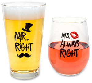 Funny Wedding Gifts - Mr. Right and Mrs. Always Right Novelty Wine Glass and Beer Glass Combo - Engagement Gift for Couples - gift-siri